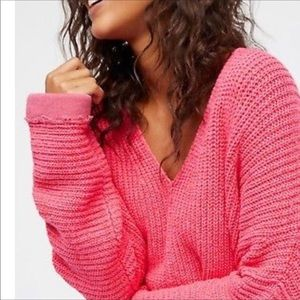 Free People Pink V Neck Oversized Pullover Sweater
